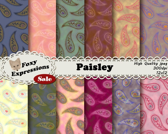 Paisley digital paper pack comes in vintage Persian droplet-shaped designs in shades of pink, purple, yellow, green, blue, orange and brown.