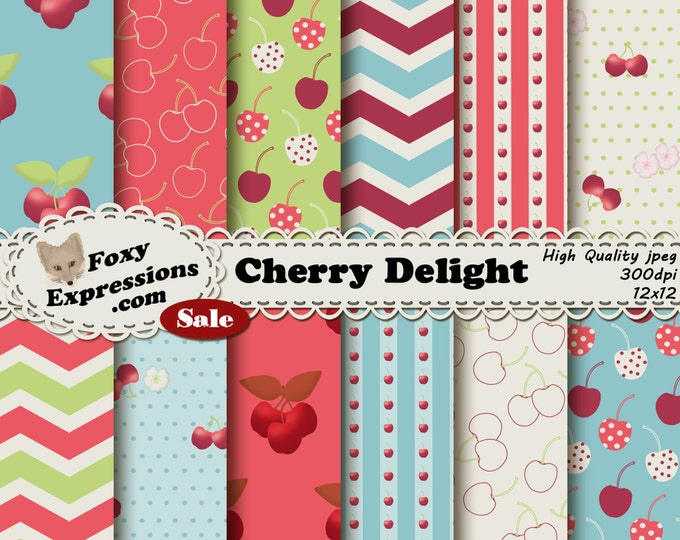 Cherry Delight digital paper comes in refreshing pink, green, blue, cream. Designs include cherries, flowers, polka dots, stripes & chevron