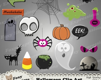 Halloween clip art pack comes with black cat, bat, skull, spider, candy corn, grave yard, word bubbles, tombstone, blob, cauldron, and more