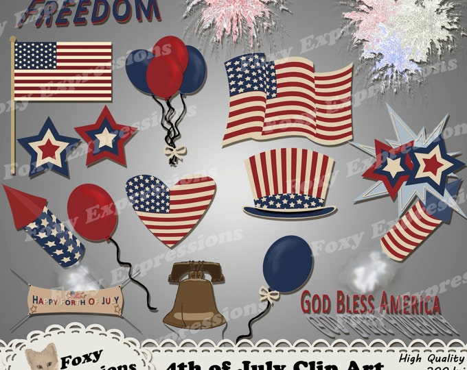 4th of July vintage clipart, comes with banners, flags, rockets, fireworks, balloons, hats, signs, and liberty bell all in red, white & blue