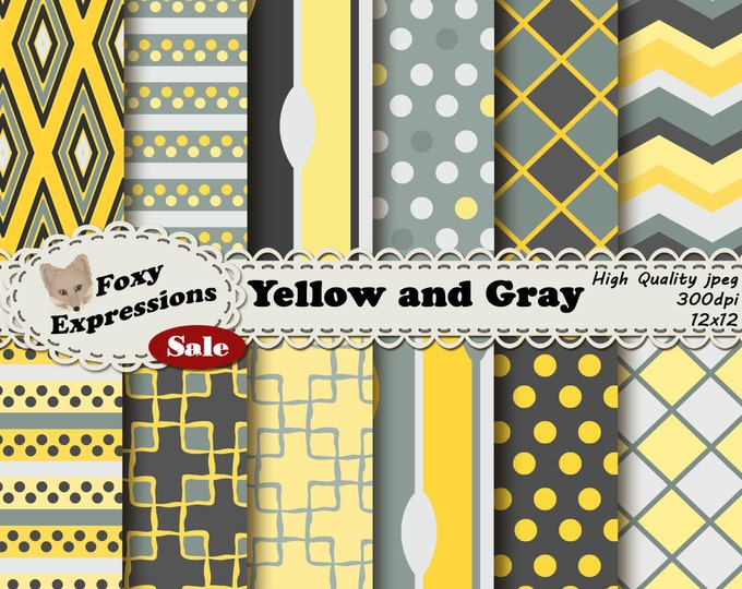 Yellow and Gray Digital Paper comes in several shades of yellow and gray in fun diamonds, polka dots, damask, spoons, checkers, stripes, etc