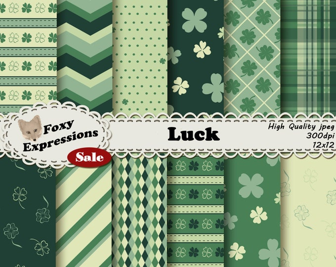 Luck digital paper pack comes in 5 shades of green. Designs include 4 leaf clovers, polka dots, stripes, chevron, plaid, diamonds and more.