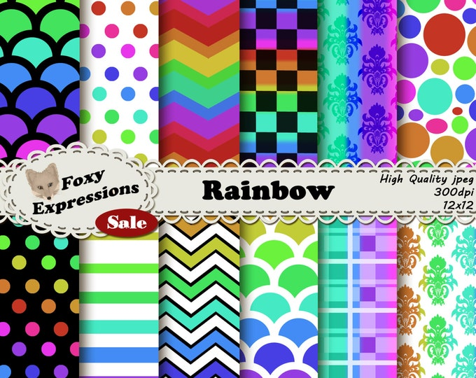 Rainbow pack comes in all the bright colors of the rainbow with checkers, polka dots, chevron, plaid, damask, scales, stripes, and bubbles