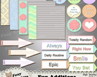Fun Additions digital clipart pack comes with 21 pieces of brightly colored sayings, pictures and note paper including cameras, and arrows.
