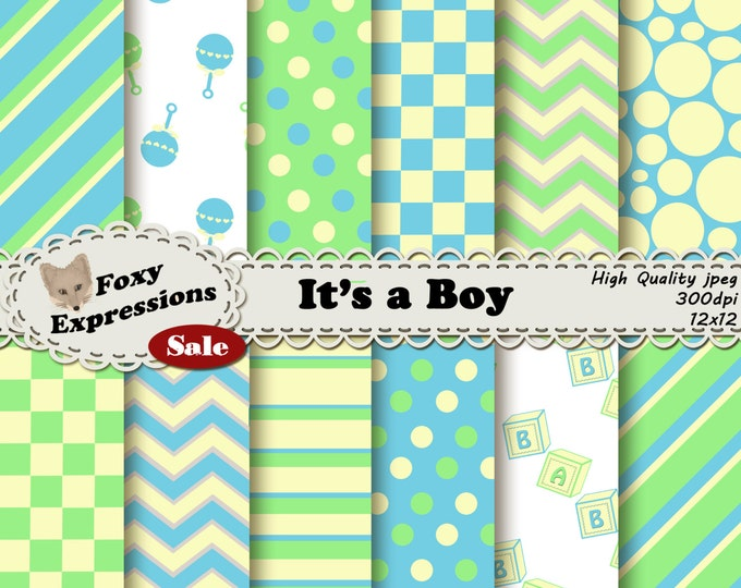 Baby Boy Digital Paper with fun baby block stripes, ratttle polka dots, chevron, etc in blue, green & yellow for personal and commercial use