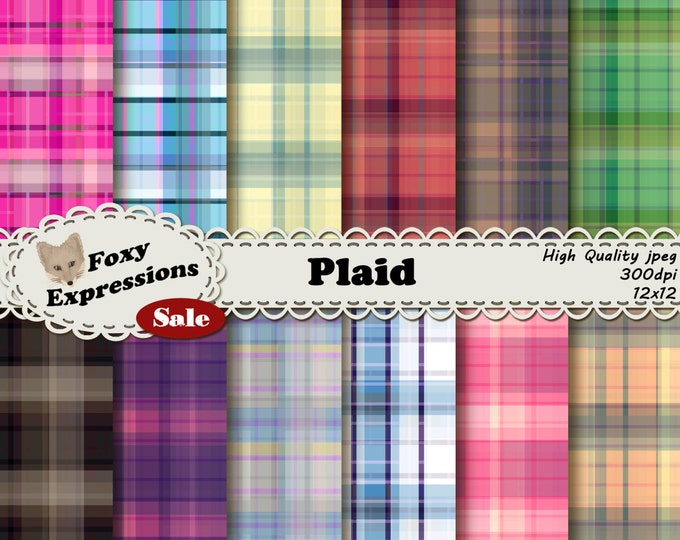 Plaid digital paper comes 12 different striking colors of plaid. Perfect for adding a rustic, warm and cuddly feel of flannel to any project