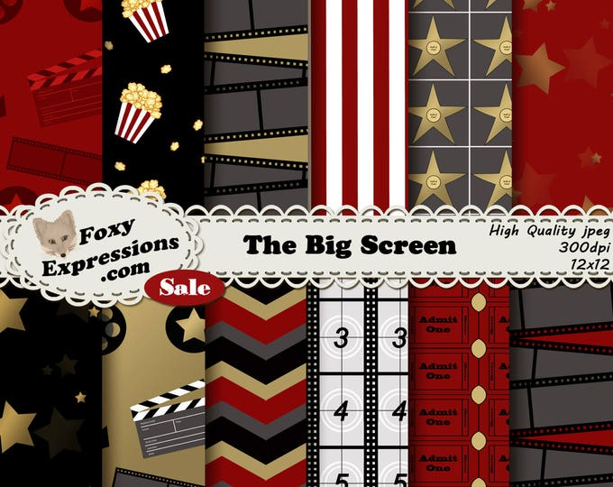 The Big Screen digital paper comes in red, gold & black. Designs include stars, admission tickets, film, walk of fame, popcorn, lights, etc