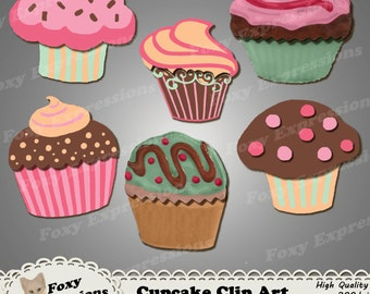 Cupcake digital clip art comes in delicious colors of pinks, orange, green and brown. They are covered in polkadot sprinkles & creamy swirls