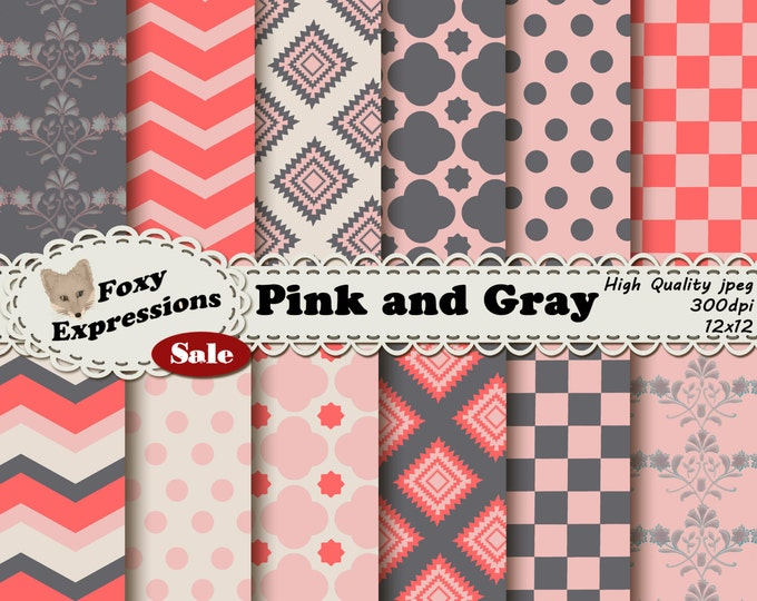 Pink and Gray Digital Paper pack comes in chevron, checkers, damask, polka dots, and diamonds patterns. In shades of pink, gray and cream.