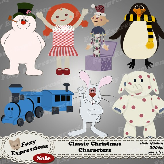 Classic Christmas Characters digital clip art pack comes with Frosty,  topper, rabbit, \u0026 the gang of misfit toys like charlie in the box,etc