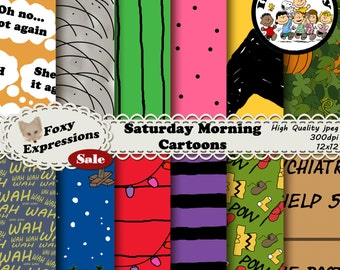 Saturday Morning Cartoons digital paper inspired by Charlie Brown includes Snoopy doghouse, pepperment patty, sally, teachers wah wah & more