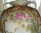 Antique Art Noveau Imperial Nippon Porcelain Moriage Pink Purple Textured Gold Gilt Hand Painted Double Handled Jug Vase