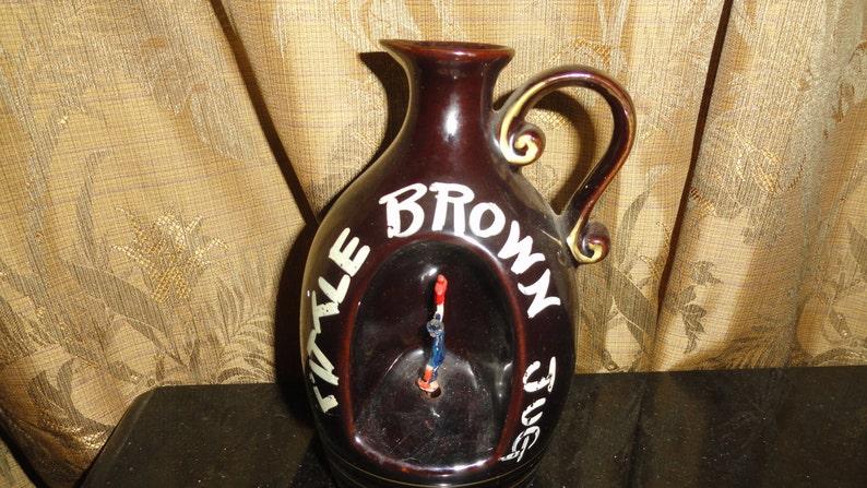 Vintage 1960/'s Retro APEX QUALITY JAPAN Little Brown Jug Windup Musical Pottery Jug Liquor Decanter