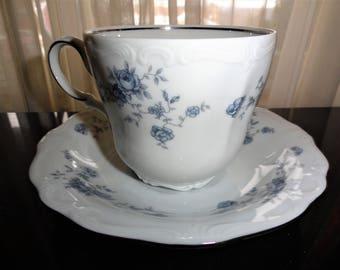 Vintage Johann Haviland China Corporation Blue Garland Traditions Fine China Teacup & Saucer