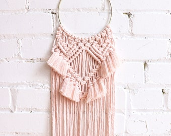 Blush, Macrame wall hanging, dream catcher macrame, nursery decor, surf decor, brass ring, macrame wall hanging, girl gift idea