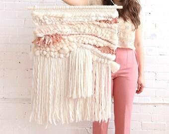 Terracotta XL weaving wall hanging, montréal weaving, handmade, boho montreal, surf decor, roving wool, marocain silk, nursery decor, baby