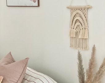 Ecru, Tone on tone rainbow macrame wall hanging, baby shower gift, nursery decor, small macrame, baby room decoration, cotton rope, surf