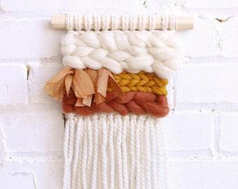 Mini terracotta weaving wall hanging, montreal weaving, handmade, boho montreal, surf decor, roving wool, marocain silk, nursery decor, baby
