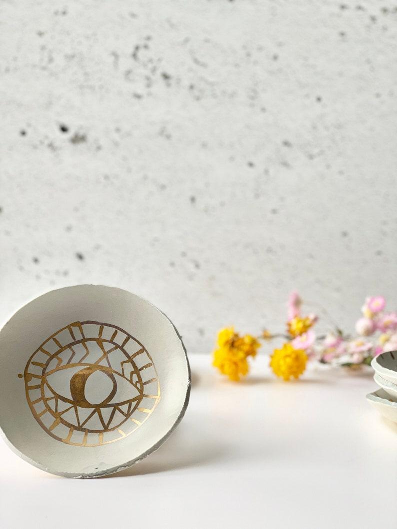 Mat grey-blue Porcelain smudge plate fumigating rituals image 0