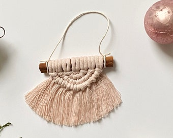 Blush mini macrame ornament, mini rainbow, macrame rainbow, wall hanging, Christmas ornament, nursery room, Boho Montreal, cotton rope