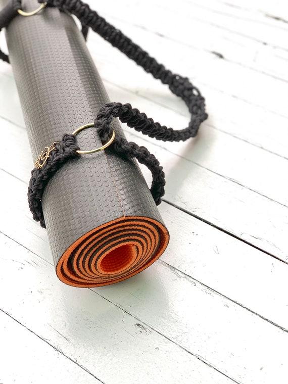boho montr\u00e9al yoga mat sling yoga strap carrier yoga mat holder carrying strap Liquorice yoga mat strap macrame adjustable mat strap