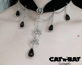 Gothic handmade velvet choker with Spider,chain and beads