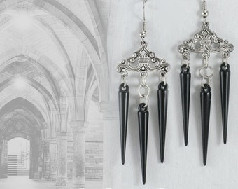Black Drops * handmade earrings with antique silver connector and black drops - gothic jewellery