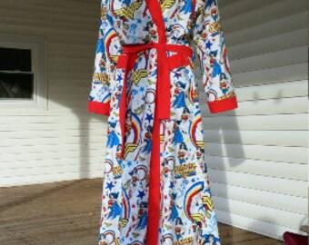 Wonder Woman Robe XL to 6XL long or short 100% Cotton Soft Light Flannel  Rainbow DC Superhero comic Justice League Pajamas 46e7df7f2