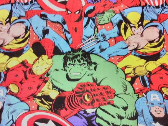 100/% Cotton Marvel Comic Fabric Avengers Comic Blocks Blue