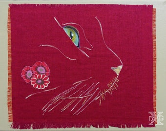 "Painting ""Cat softly"" fiber Art"