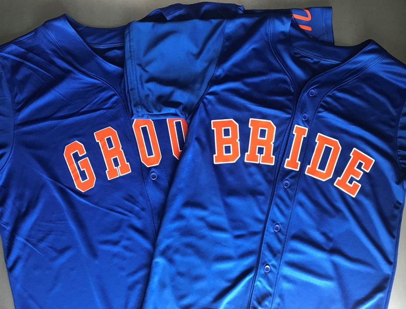 check out 4bb88 d311e Set of NY Mets Baseball Jerseys Personalized For Bride and Groom - Last  Name and Numbers on back, Mr./Mrs. on sleeve