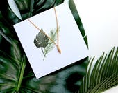 Hand Illustrated watercolour botanical gift | botanical card and necklace | delicate wire wrapped necklace
