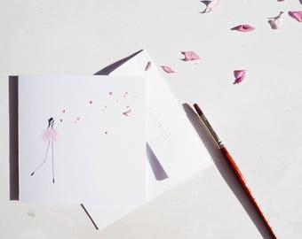 Hand Illustrated Love Card | happy girl card | Boyfriend card Girlfriend Card