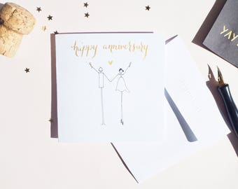 Handmade Illustrated Anniversary Card | happy girl card | Congratulations card