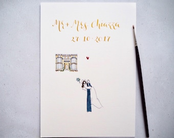 Custom Portrait Wedding Illustration | Personalised Wedding Gift | Original Watercolour Wedding Illustration |  bride groom wedding portrait