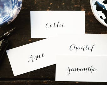 Custom hand written calligraphy wedding place cards | wedding name cards | calligraphy wedding place names