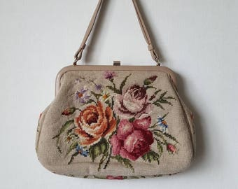 Embroidered Beige Handbag Vintage 50s