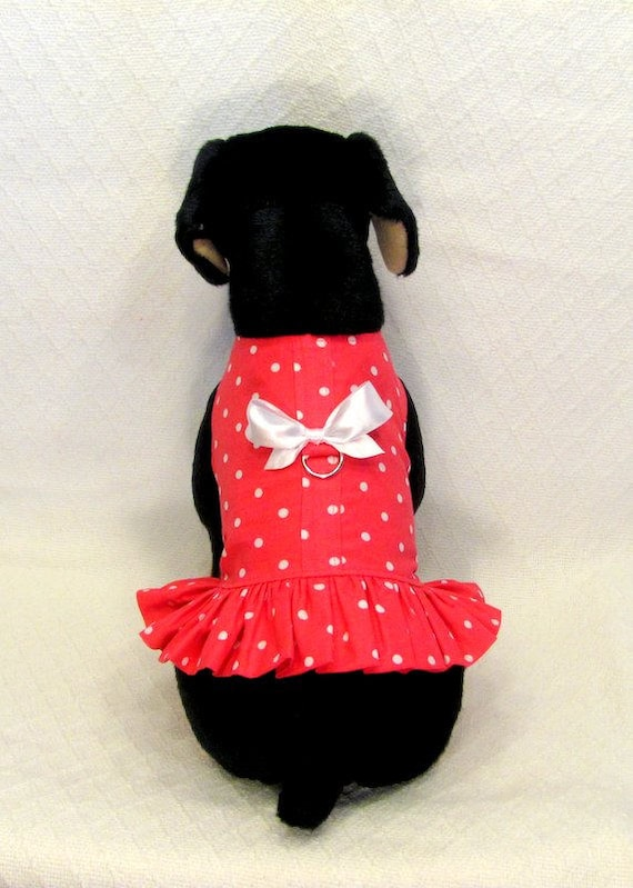 e26d7af1f74 Hot Pink with White Polka Dots Dog Harness Dress Size Medium