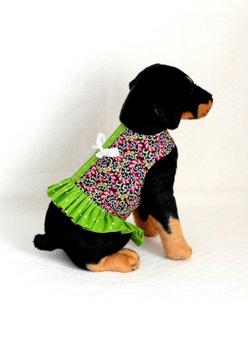 Black Hot Pink Green Polka Dots Dog Harness Dress Size Medium