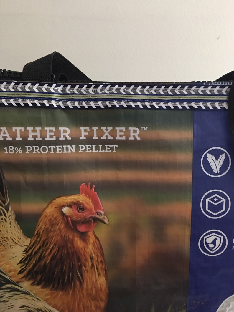 Upcycled Zippered Chicken Feedbag Totebag Bag