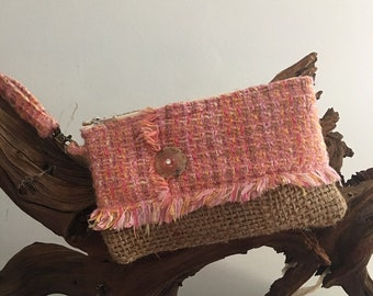 Pastel Recycled Burlap Coffee Bag Handmade Wristlet