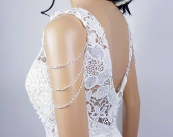 Pair of upper arm pearl and crystal epaulette shoulder body chain sleeves attachable for wedding dress and bridal gown beaded epaulette