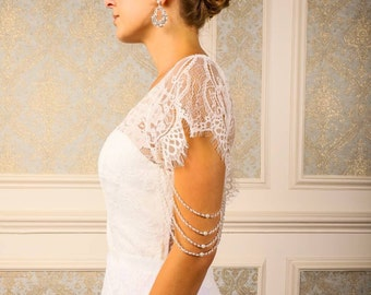 4 Layer Pair of upper arm pearl and crystal shoulder body chain sleeves attachable for wedding dress and bridal gown beaded epaulette