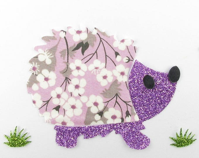 Applied fusing flex and Hedgehog fabric liberty Mitsi purple sequined applique liberty fusing patterns iron patch