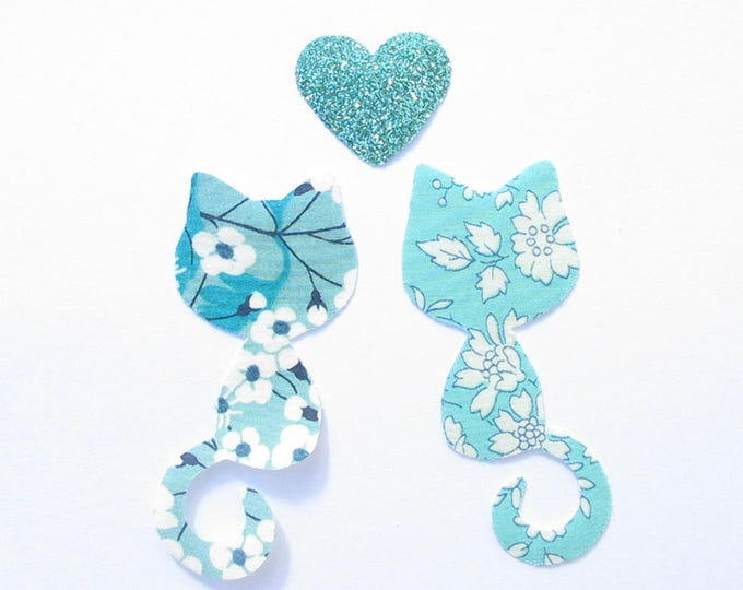 Applied fusing cats liberty Mitsi Mint and turquoise Capel liberty collection patterns cat iron on patch applique