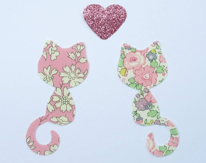 Applied fusing Calico cats liberty Capel Betsy Ann flex pink sequined applique liberty fusible patch iron iron on cats