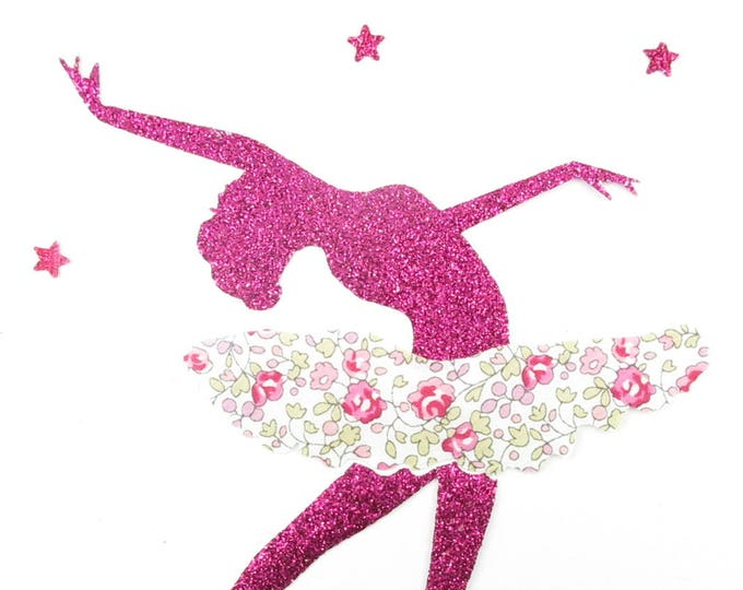 Applied fusing dancer fabric liberty Eloise pink and glittery fuchsia pattern Thermo flex liberty patch iron on patch