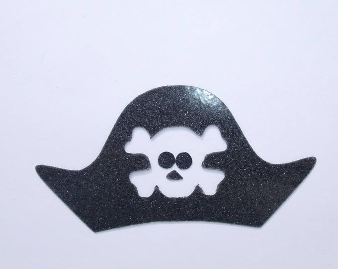 Applied fusible glittery fabric pirate Hat Black patch iron on fusible ground pirate pirate Hat applique