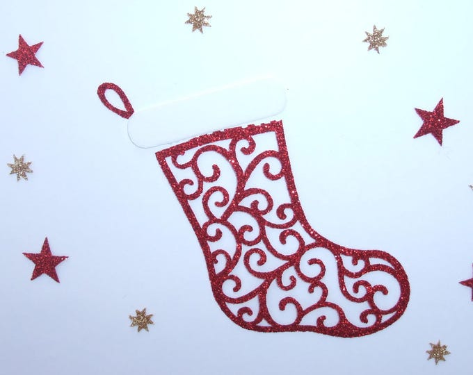 Applied boot Christmas red sequined fabric fusing patch white velvet fabric Christmas pattern fusible iron-on glitter coat