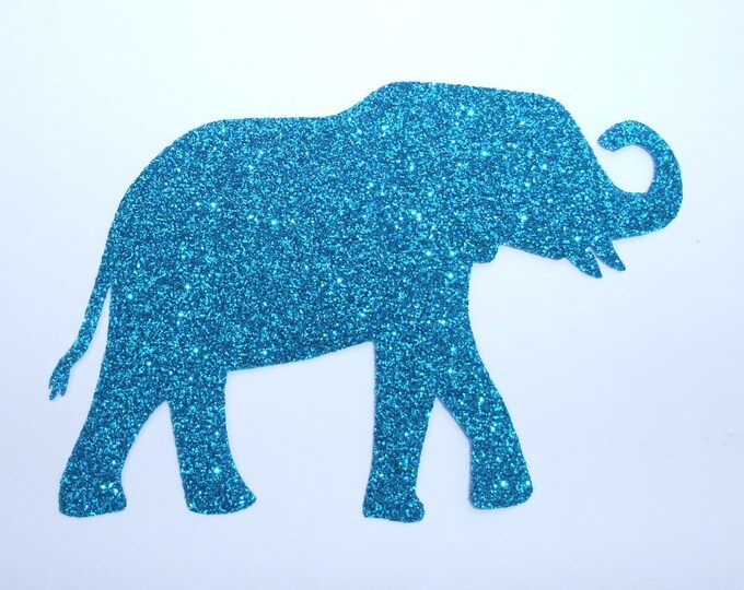 Applied fusible elephant turquoise glittery fabric (colors) patch elephant pattern applique iron on patch